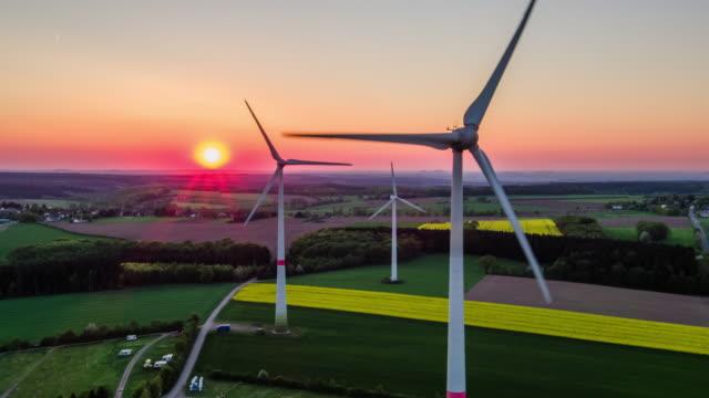 AERIAL: Sundset above Wind Turbine video