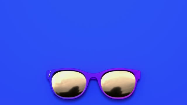 sonnenbrille abstrakt 3d rendering motion blue background flat lay scene - sonnenbrille stock-videos und b-roll-filmmaterial