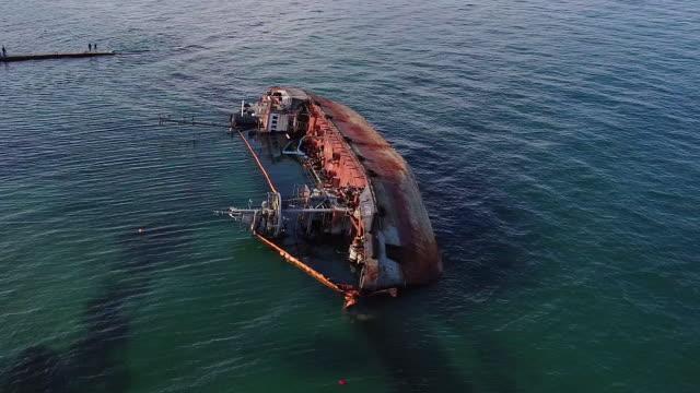 sunken tanker vessel - nave cisterna video stock e b–roll