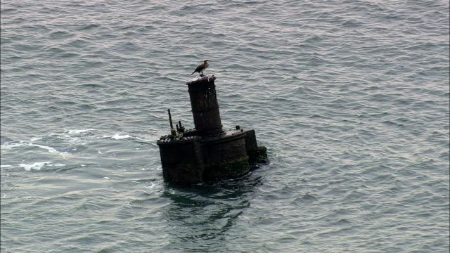 sunken wreck  - aerial view - north carolina,  dare county,  united states - кораблекрушение стоковые видео и кадры b-roll