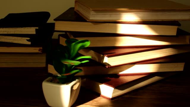 stockvideo's en b-roll-footage met zonlicht en stapels boeken time lapse - boekenkast