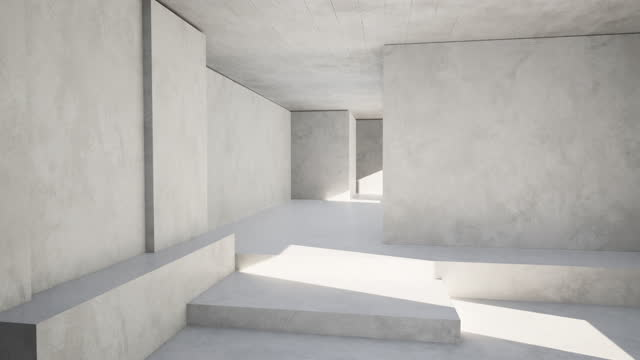 Sunlight falling on the white walls of the spacious room An angular, empty room, lit by the sunlight from the window concrete architecture stock videos & royalty-free footage
