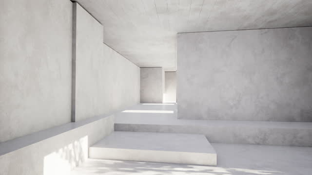 Sunlight falling on the white walls of the spacious room A spacious white room consisting of sharp corners with sunlight falling from the window concrete architecture stock videos & royalty-free footage