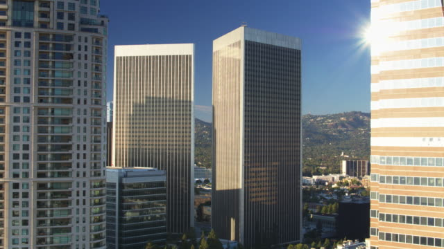 Sunlight Glinting on Skyscrapers in Century City, Los Angeles - Drone Shot video