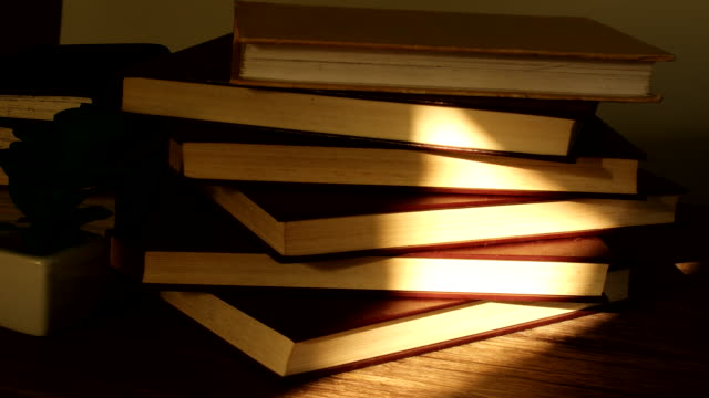 vídeos de stock e filmes b-roll de sunlight shining on the stack of books - sideboard