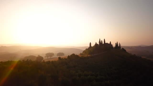 Sunlit dawn over hills video