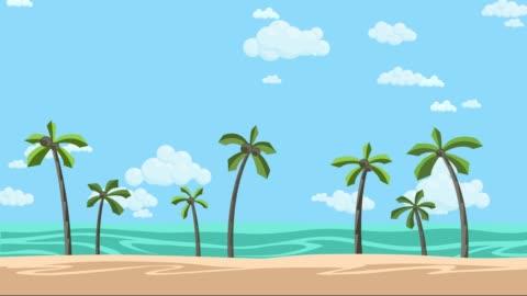 stockvideo's en b-roll-footage met zonnige strand met palmbomen en bewolkt skyline. geanimeerde achtergrond. platte animatie. - illustratie