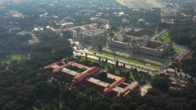 sunny day bangalore city famous palace court and library aerial panorama 4k india