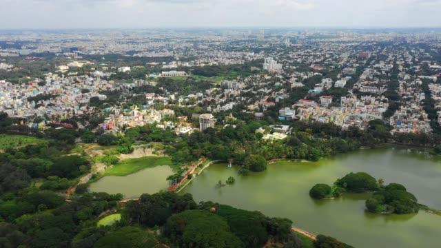 sunny day bangalore cityscape park lake aerial panorama 4k india - vídeo