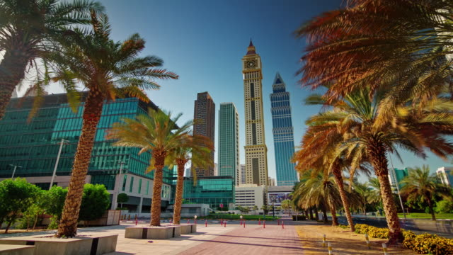 sunny day dubai city downtown buildings street view 4k time lapse united arab emirates video