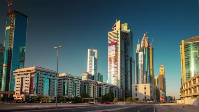 sunny day dubai city downtown street view 4k time lapse united arab emirates