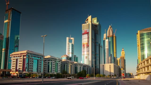 sunny day dubai city downtown street view 4k time lapse united arab emirates video