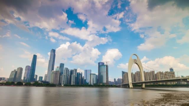 晴れた日広州市中心部の有名な川橋パノラマ 4 k 時間経過中国 - 中国 広州市点の映像素材/bロール