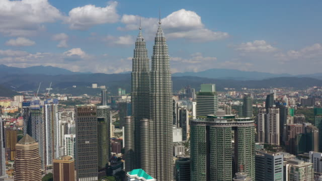 sunny day kuala lumpur cityscape downtown center aerial panorama 4k malaysia video