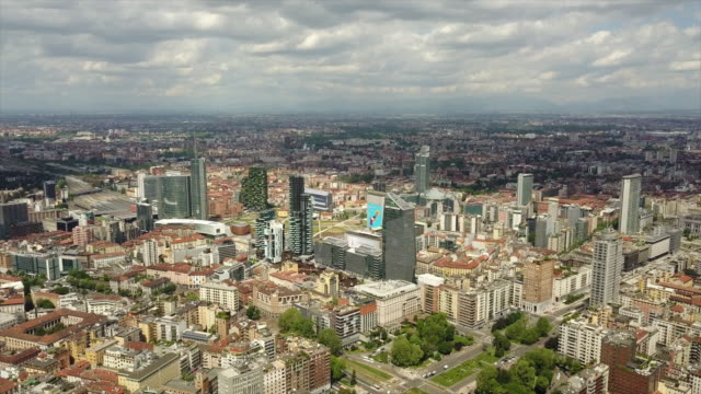 sunny day milan city downtown aerial panorama 4k italy - milan railway video stock e b–roll
