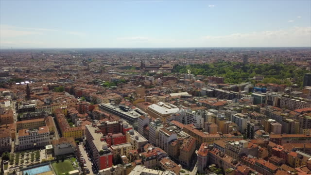 sunny day milan city downtown district aerial panorama 4k italy - milan railway video stock e b–roll