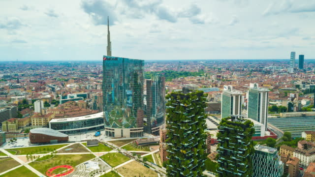sunny day milan city downtown modern park aerial panorama 4k time lapse italy - lombardia video stock e b–roll