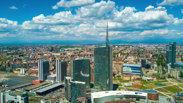 sunny day milan city modern downtown aerial panorama 4k time lapse italy - milan video stock e b–roll