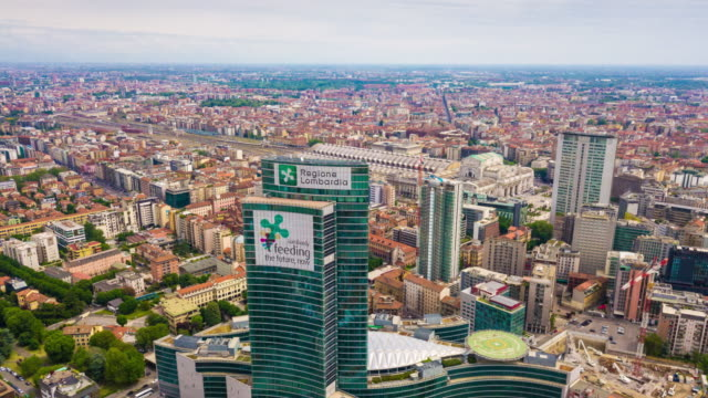 sunny day milan city modern downtown aerial panorama 4k time lapse italy - lombardia video stock e b–roll
