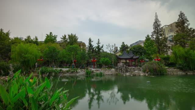 sunny day nanjing city center park pond timelapse panorama 4k china