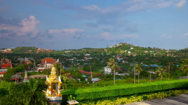 sunny day samui island beach town famous temple complex rooftop panorama 4k timelapse thailand
