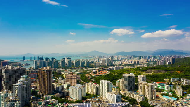sunny day sanya cityscape aerial panorama timelapse 4k china sunny day sanya cityscape aerial panorama timelapse 4k china coastal feature stock videos & royalty-free footage