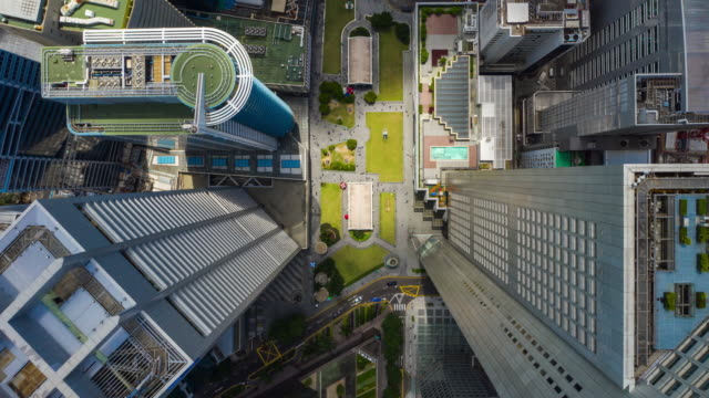 sunny day singapore city downtown famous raffles square aerial topdown panorama 4k timelapse - vídeo