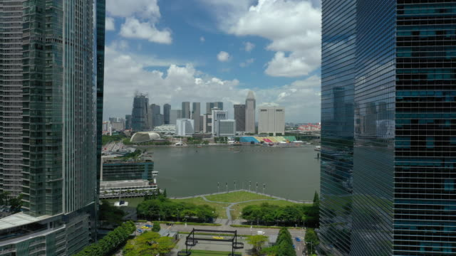 sunny day singapore city downtown marina bay view aerial panorama 4k - vídeo