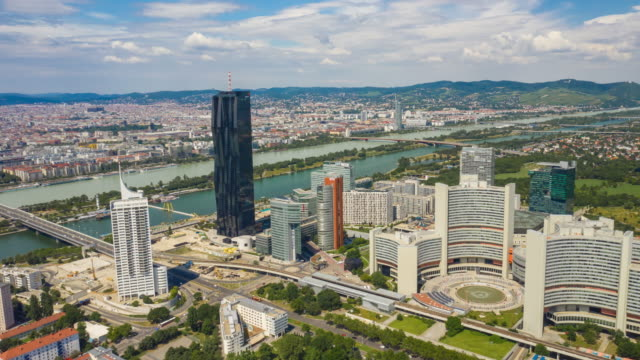 sunny day vienna city modern downtown riverside aerial panorama 4k timelapse austria sunny day vienna city modern downtown riverside aerial panorama 4k timelapse austria european culture stock videos & royalty-free footage