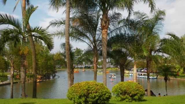 sunny day zhuhai city famous park lake shore panorama 4k china - zhuhai video stock e b–roll