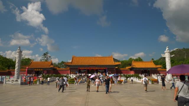 sunny day zhuhai city famous park square entrance panorama 4k china - zhuhai video stock e b–roll