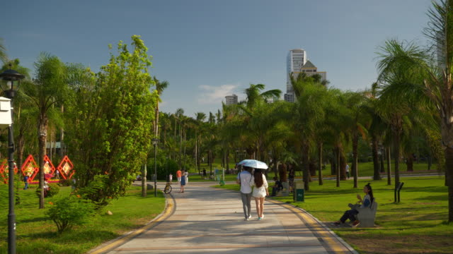 sunny day zhuhai city famous park walking alley panorama 4k china - zhuhai video stock e b–roll