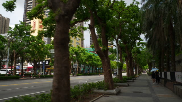 día soleado zhuhai ciudad acera lenta panorama 4k china - vídeo