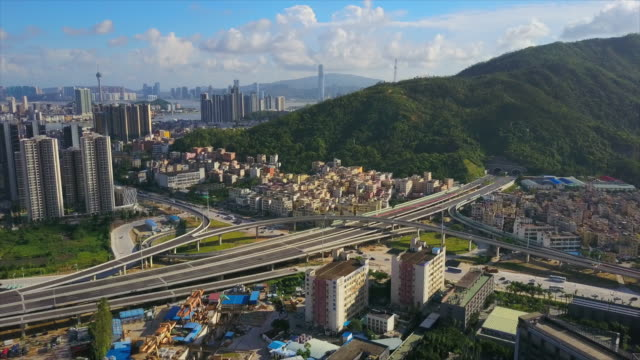 sunny day zhuhai city square traffic road junction aerial top view 4k china - zhuhai video stock e b–roll