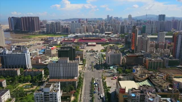 sunny day zhuhai cityscape gongbei port of entry traffic road aerial panorama 4k china - zhuhai video stock e b–roll