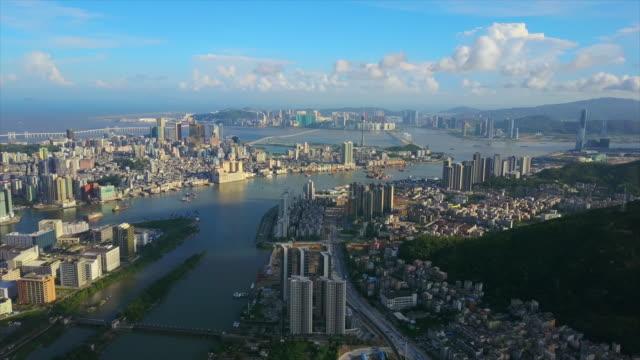 sunny day zhuhai cityscape macau city bay aerial panorama 4k china - zhuhai video stock e b–roll