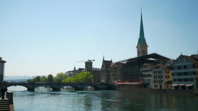 Sunny Day Zurich City Center Riverside Bridge Slow Motion