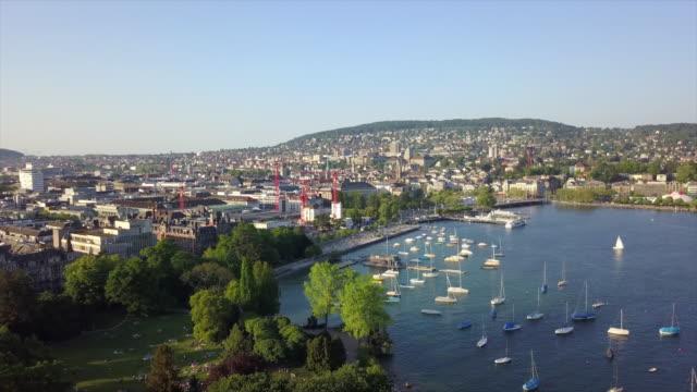 sunny day zurich city lake bay park aerial panorama 4k switzerland