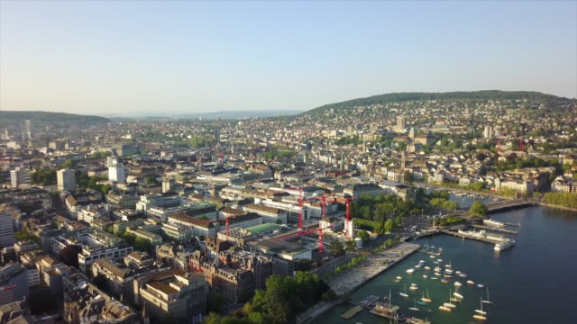 sunny day zurich city lake bay park dock aerial panorama 4k switzerland