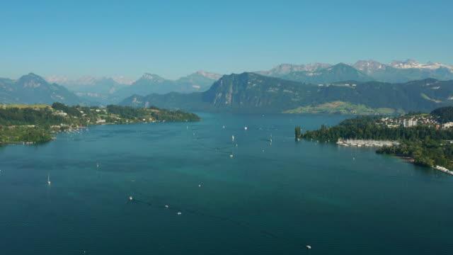 soirée ensoleillée célèbre luzern lac panorama aérien 4k suisse - Vidéo