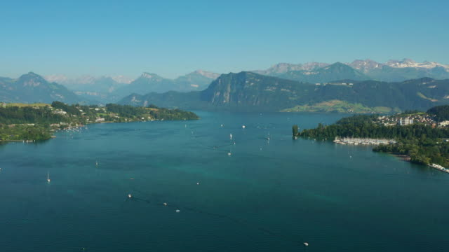 sunny evening famous luzern lake aerial panorama 4k switzerland - vídeo