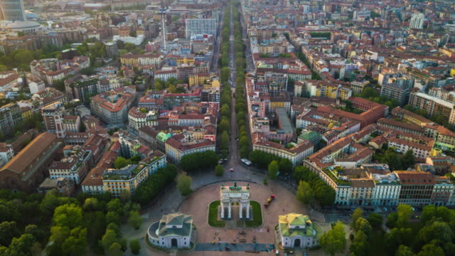 sunny evening milan city park aerial panorama 4k time lapse italy - italian architecture stock videos & royalty-free footage