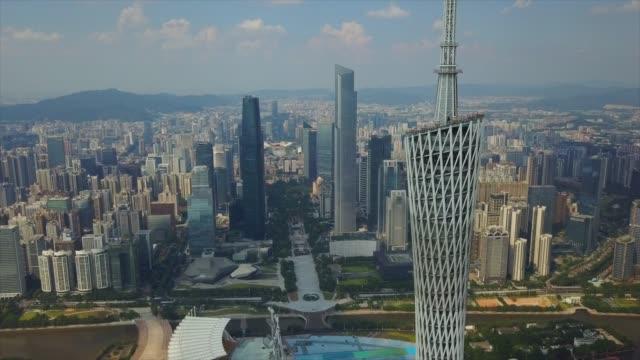 日当たりの良い広州ダウンタウン カントン タワー トップ空中パノラマ 4 k 中国 - 広東省点の映像素材/bロール