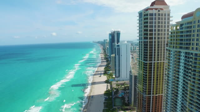 sunny isles in miami, florida - aerial beach stock videos & royalty-free footage