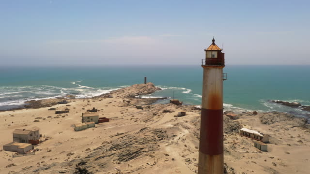 WS Sunny scenic view lighthouse and seascape, Swakopmund, Namibia, Africa Sunny scenic view lighthouse and seascape, Swakopmund, Namibia, Africa. Real Time. swakopmund stock videos & royalty-free footage