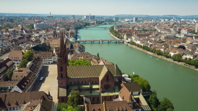 sunny summer day basel city center riverside aerial panorama 4k timelapse switzerland video