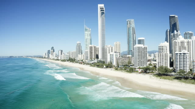 Sunny view of Surfers Paradise on the Gold Coast, reversing shot. Sunny view of Surfers Paradise on the Gold Coast, reversing shot. QLD, Australia oceania stock videos & royalty-free footage