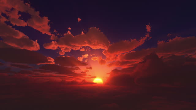 Sunrise above the clouds Sun calmly rises above the clouds in beautifull colours.  dawn stock videos & royalty-free footage