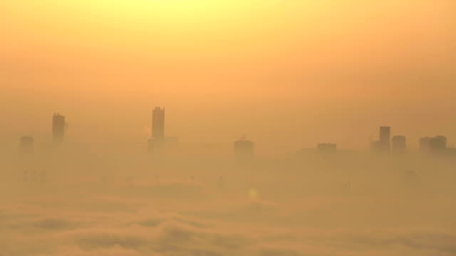 sunrise aerial view foggy weather Dubai Marina video