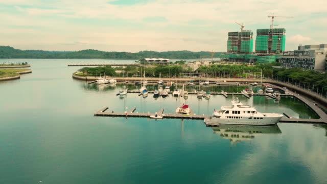 Sunrise aerial view of Iskandar Puteri, Johor Bahru Malaysia Puteri Habour, Iskandar Puteri johor bahru stock videos & royalty-free footage
